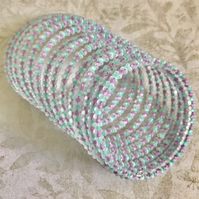 Frosted Beaded Memory Wire Statement Bracet