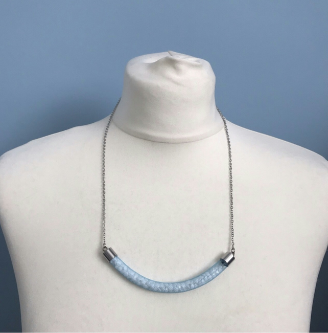 Blue Tube Necklace With Encased Crystals