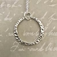 Hammered Hoop Pendant Necklace