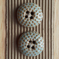 Ceramic shabby chic blue and brown buttons