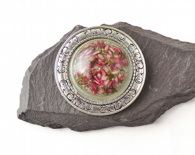 Pink Heather Flower Brooch - 1745