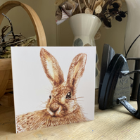 Greetings Card. The Curious Hare