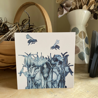 Greetings Card. Busy Bees.