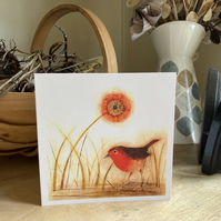 Greetings Card. Little Red Robin.
