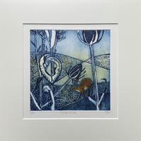 Original collagraph print. Escape route.