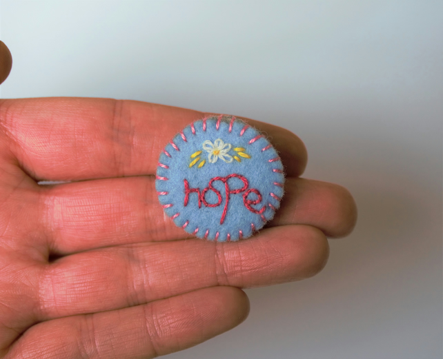 Hope and Daisy Embroidered Felt Brooch