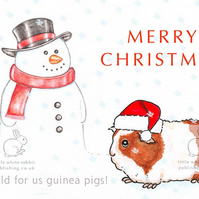 Gerry the Guinea Pig and the Snowman - Christmas Card