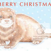 Felix the Ferret in the Snow - Christmas Card