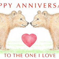 Bears Nose to Nose - Anniversary Card