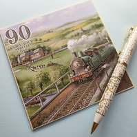 handmade male age 90 birthday card 90th birthday 5x 5 train journey yesteryear