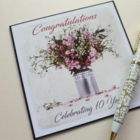Tenth 10th  wedding anniversary card floral bouquet  5 x 5 card
