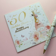50th golden wedding anniversary card 5x5 champagne celebration