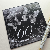 60th wedding anniversary diamond anniversary black and white 5x 5 card