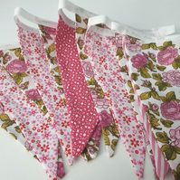 handmade country rose bunting 2.5 metres in length