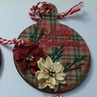 cute mdf decorated bauble shape 10cm x 8cm poinsetta