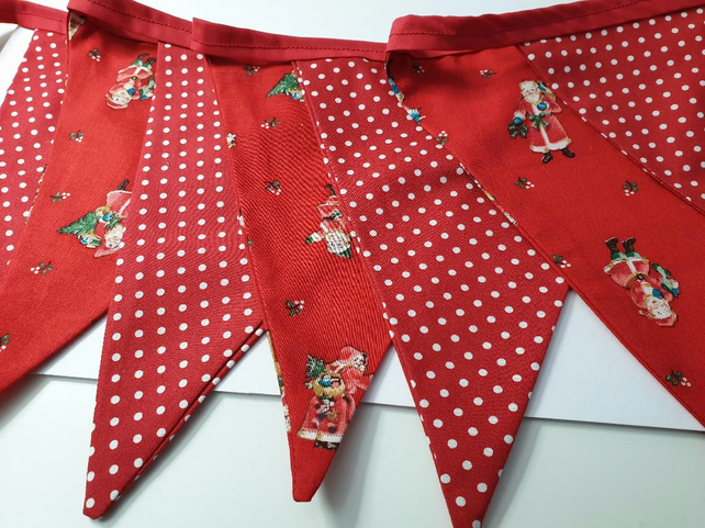 christmas bunting red and white polka dot and vintage santa fabric  2.5 metres
