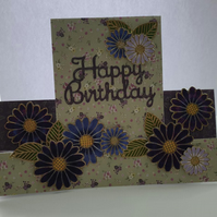 Handmade happy birthday  floral stepper easel card purple ,lilac