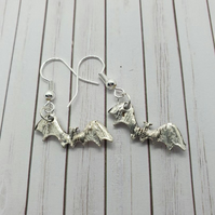 silver plate and Antique silver tiny bat earrings