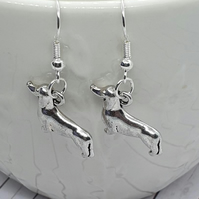 cute silver plated dachshund sausage dog earrings