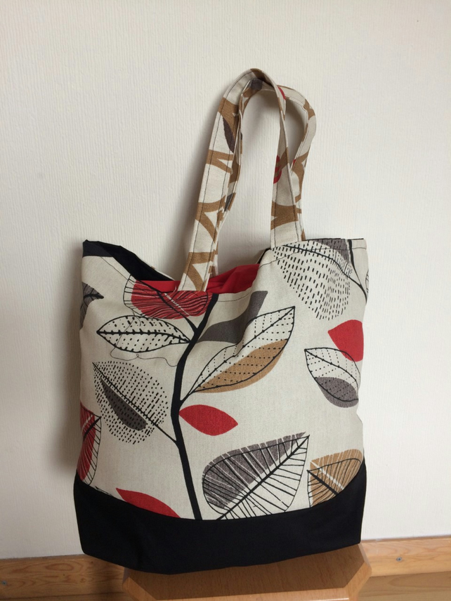 Tote Bag Contemporary leaf pattern