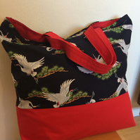 Ladies tote  shopping bag Japanese Cranes
