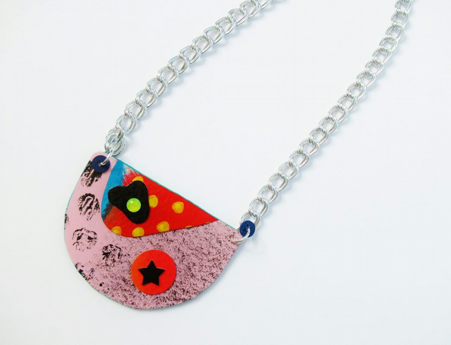 Bib Pendant Necklace Funky OOAK Quirky Art To Wear Avant Garde Jewellery