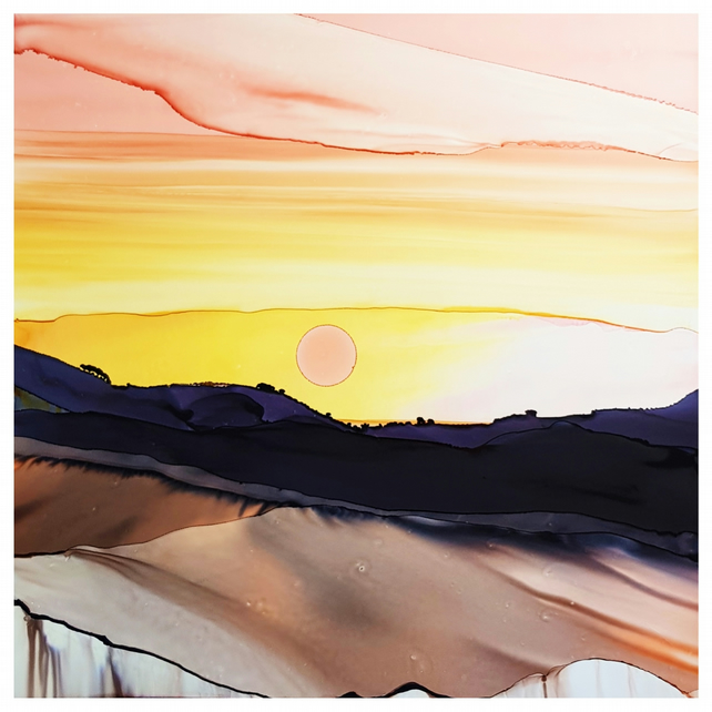 Sunset Ridge,  Original Alcohol Ink, Original Painting,  Alcohol Ink Art
