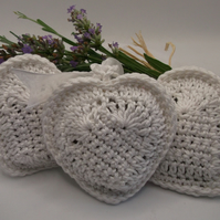 Crochet Heart Lavender Bags-- set of three