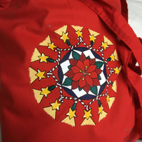CHRISTMAS MANDALA POINSETTIA TOTE BAG