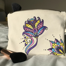 MULTICOLOURED FLOWER MANDALA STYLE MAKEUP BAG