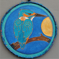 KPM001 - Stylised Kingfisher Mandala - 17.5cm round - Blue-turquoise-orange
