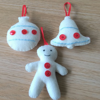 Set of three White felt Christmas tree decorations bauble, bell and snowman