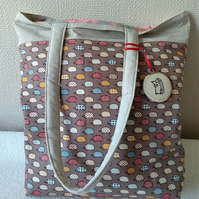 Hedgehog print Tote Shopping bag in with padded straps.