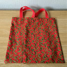 Red and Green print Christmas Gift or Goodie bag