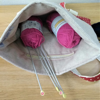 Project knitting crochet bag  Spot on Red and Natural Linen