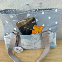 Project knitting or crochet bag in Blue Leaf And Grey With White Spots.