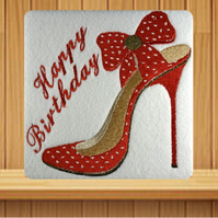 Handmade red polka dot high heel shoe greetings card embroidered design