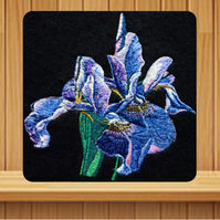 Handmade iris floral greetings card embroidered design