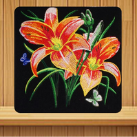 Handmade tiger lillies and butterflies greetings card embroidered design