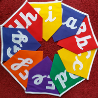 Capital and Cursive Case Alphabet Bunting Rainbow Fabric Embroidered