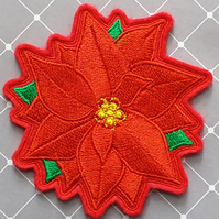 Embroidered Poinsettia Drinks Coaster
