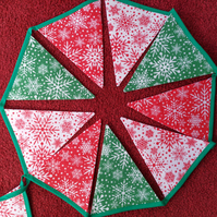 Christmas Bunting Three Colour Snowflakes Design 12 Flags - Hand Crafted