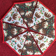 Bunting Christmas Puddings Design 12 Flags - Hand Crafted