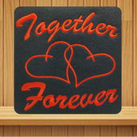 Handmade Valentine's card Red Together Forever embroidered design