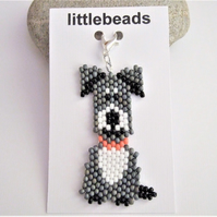 Grey and White Dog Charm