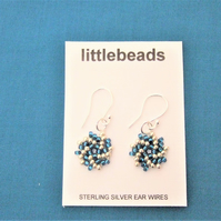 Blue-green and Silver Beaded Sterling Silver Earrings