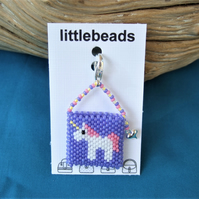 Purple Unicorn Miniature Handbag Charm