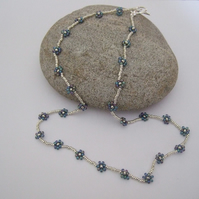 Metallic Blue and Silver Flower Design Beaded Necklace