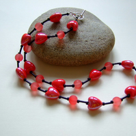 Red Ceramic Heart and Frosted Glass Bead Necklace