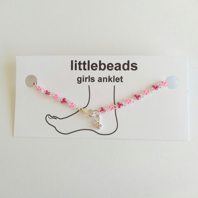 Pink and Silver Beaded Girls Anklet